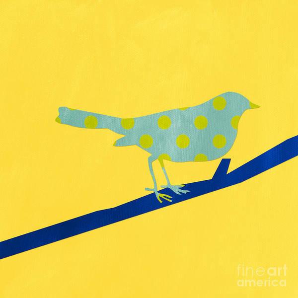 Yellow Bird Wall Art - Mixed Media - Little Blue Bird by Linda Woods