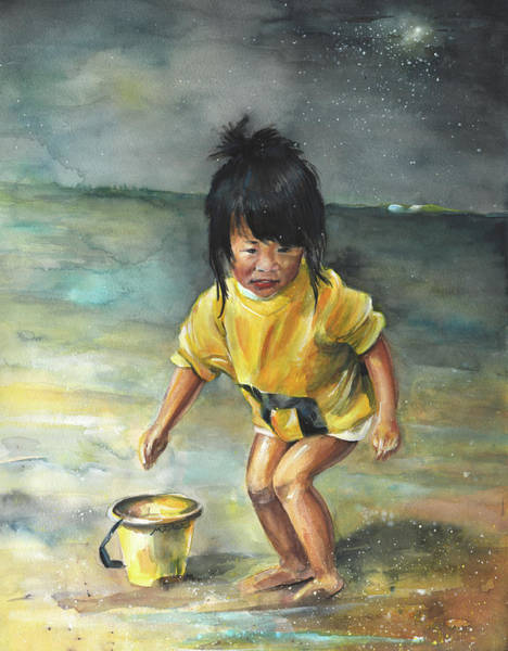 Chinese Girl Painting - Little Chinese Girl On The Beach by Miki De Goodaboom