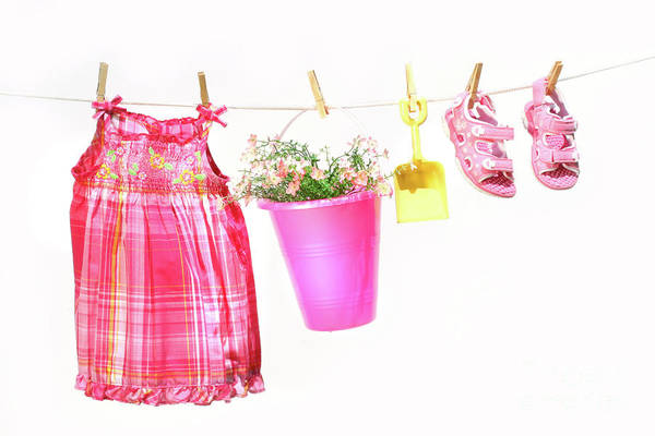 Photograph - Little Girl Clothes And Toys On A Clothesline by Sandra Cunningham