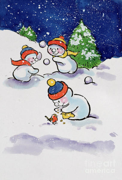 Happy Little Trees Painting - Little Snowmen Snowballing by Diane Matthes