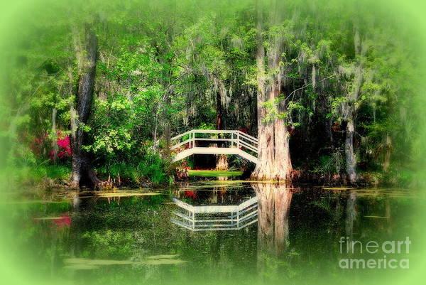 Photograph - Little White Bridge In Magnolia Gardens Charleston Sc by Susanne Van Hulst