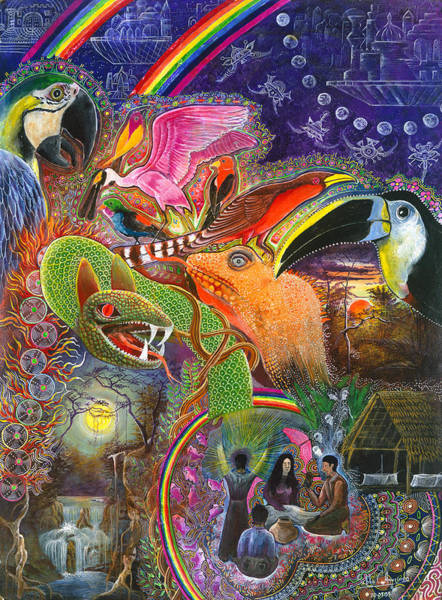 Art Print featuring the painting Llullu Machaco  by Pablo Amaringo