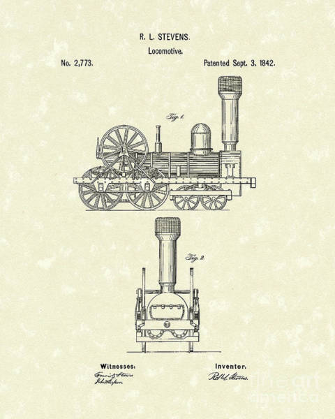 Wall Art - Drawing - Locomotive 1842 Patent Art by Prior Art Design