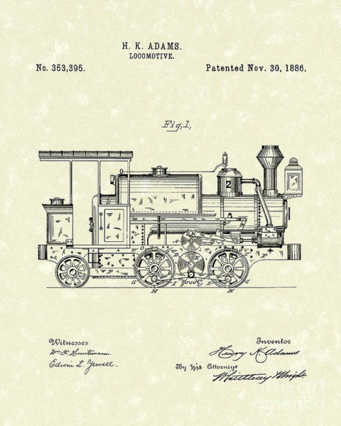 Wall Art - Drawing - Locomotive 1886 Patent Art by Prior Art Design