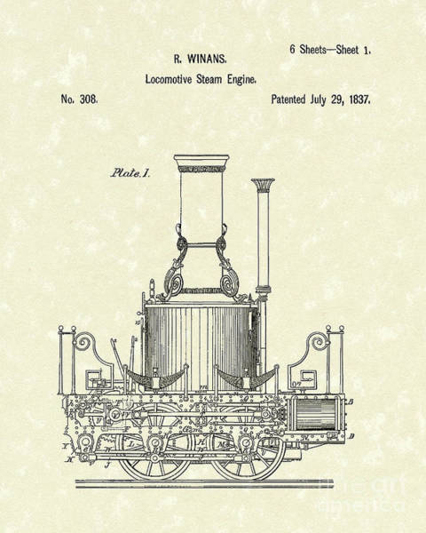 Wall Art - Drawing - Locomotive Steam Engine 1837 Patent by Prior Art Design