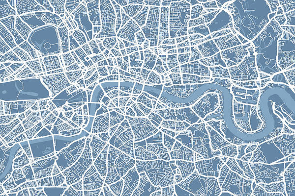 England Digital Art - London Map Art Steel Blue by Michael Tompsett