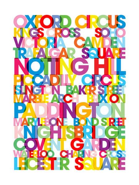 Text Map Digital Art - London Text Bus Blind by Michael Tompsett