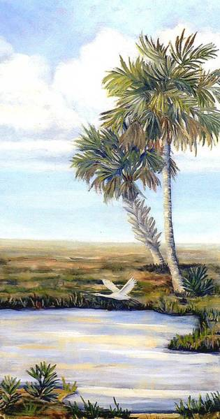 Cabbage White Painting - Lone Egret by Art by Carol May