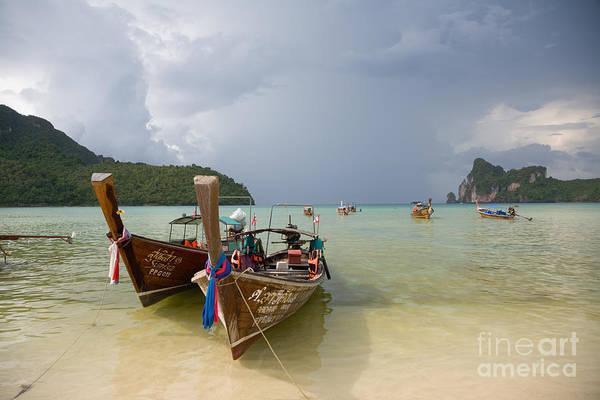 Koh Phi Phi Wall Art - Photograph - Longtail Boats At Ko Phi Phi by Ei Katsumata
