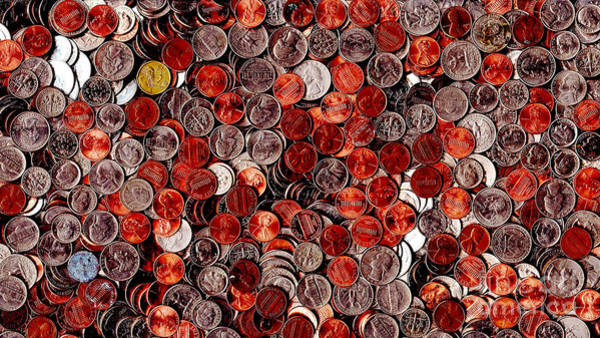 Photograph - Loose Change . 9 To 16 Proportion by Wingsdomain Art and Photography