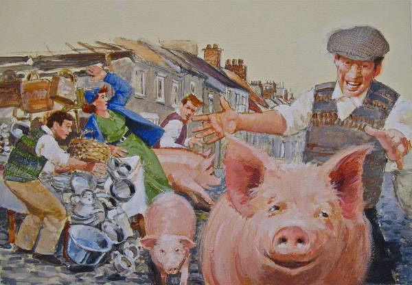 Painting - Lose Pigs by Cliff Spohn