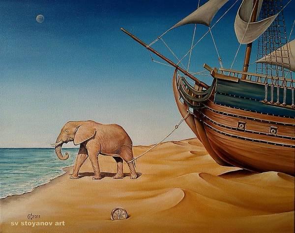 Magic Realism Painting - Lost Direction by Svetoslav Stoyanov