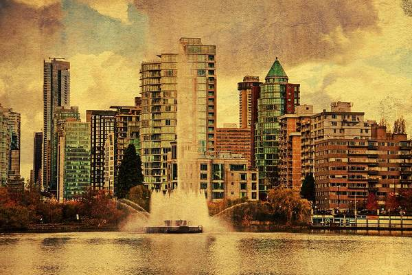 Vancouver Digital Art - Lost Lagoon Fountain by Julius Reque