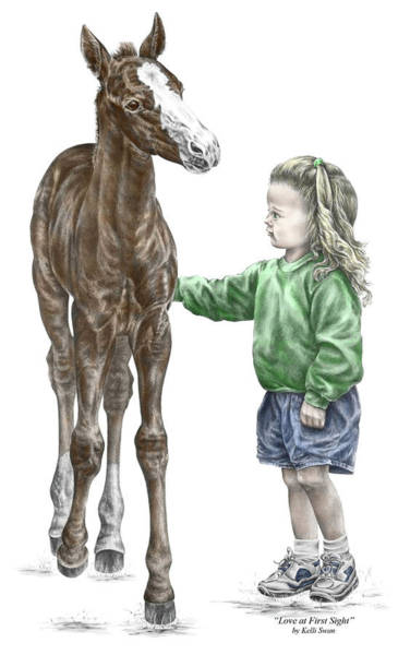 Drawing - Love At First Sight - Girl And Horse Print Color Tinted by Kelli Swan