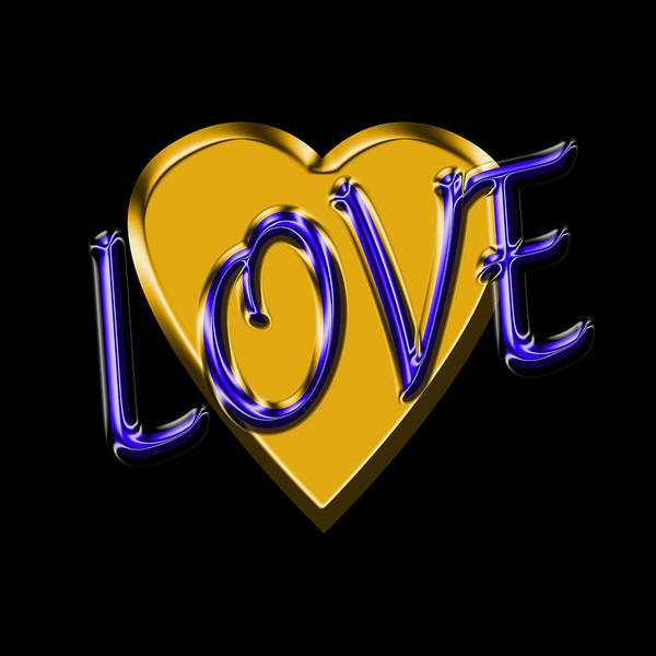 Sweetheart Digital Art - Love In Gold And Blue by Andrew Fare