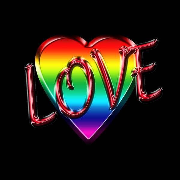 Sweetheart Digital Art - Love In Rainbow And Red by Andrew Fare