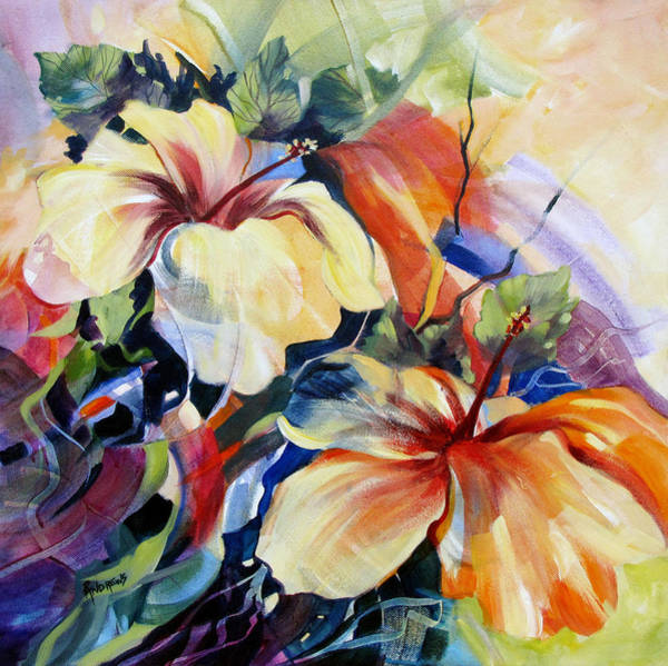 Hibiscus Flower Painting - Love In The Afternoon by Rae Andrews