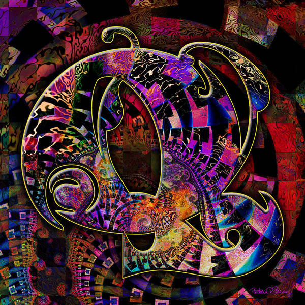 Digital Art - Love Letters Q by Barbara Berney
