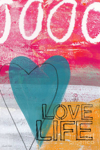 Blue Heart Wall Art - Painting - Love Life by Linda Woods