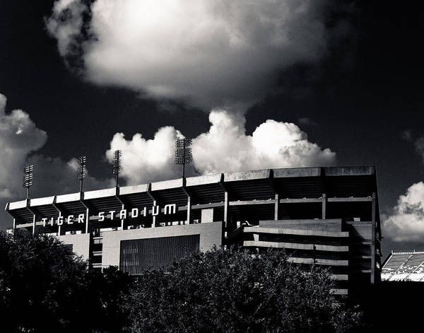 Photograph - Lsu Tiger Stadium Black And White by Maggy Marsh