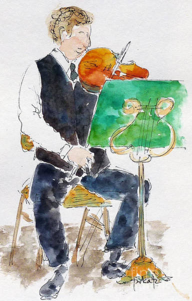 Painting - Lucas On First Violin by Pat Katz