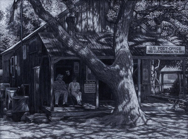 Real Ghosts Wall Art - Drawing - Luckenbach Texas by Tyler Smith