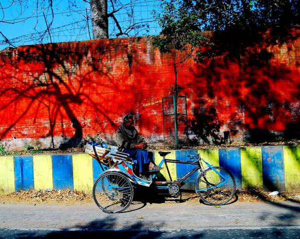 Wall Art - Photograph - Lucknow Rickshaw-puller Waiting For Riders by Abhilash G Nath