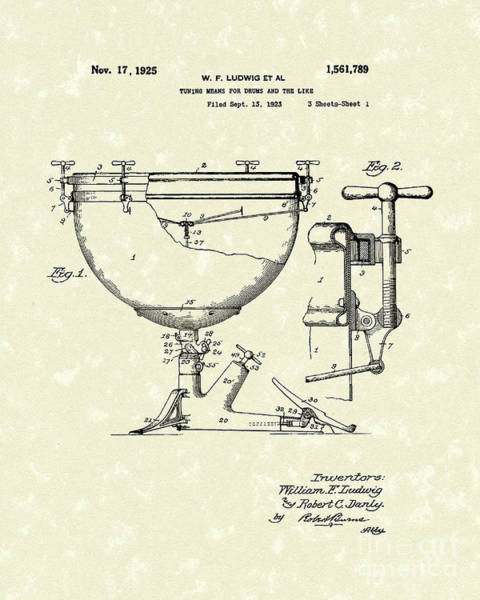 Drawing - Ludwig Drums 1925 Patent Art by Prior Art Design