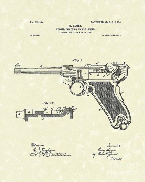 Drawing - Luger Handgun 1904 Patent Art by Prior Art Design