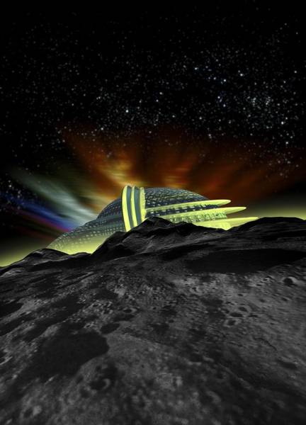 Planets And Moons Digital Art - Lunar Hotel by Victor Habbick Visions