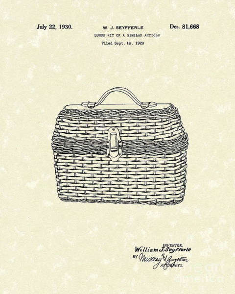 Picnic Basket Wall Art - Drawing - Lunch Box 1930 Patent Art by Prior Art Design