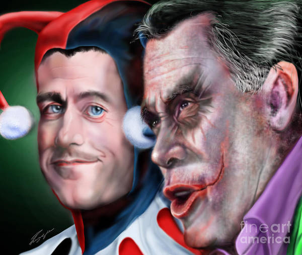 Romney Painting - Mad Men Series  4 Of 6 - Romney And Ryan by Reggie Duffie