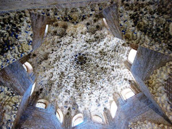 Photograph - Magnificent Antique Ceiling Architecture And Detailed Art Work Granada Spain by John Shiron