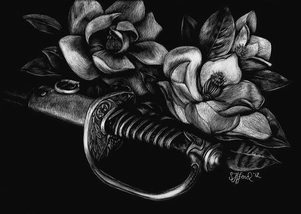Confederate Soldier Drawing - Magnolias And Steel by Stephanie Ford