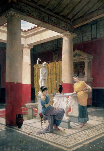 Greek House Painting - Maidens In A Classical Interior by Luigi Bazzani