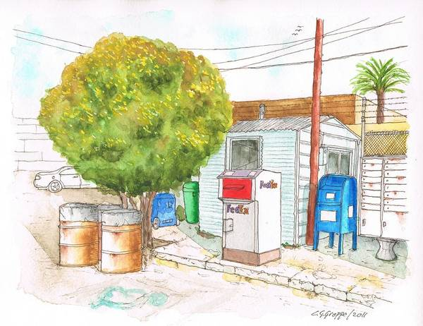 Acuarela Painting - Mail Boxes At Bergamot Station - West Los Angeles - California by Carlos G Groppa