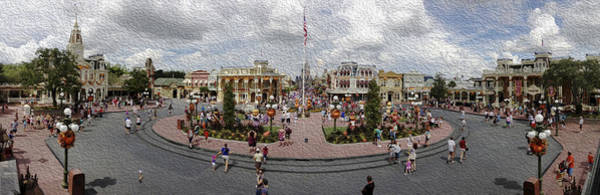 Wall Art - Photograph - Main Street Usa Panorama - Oil Painting Effect by Stuart Rosenthal