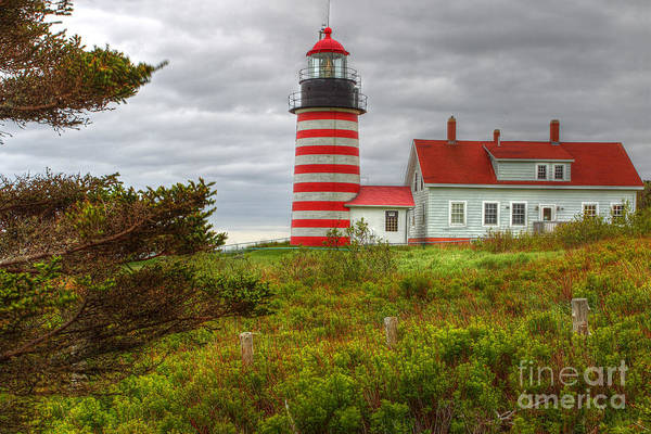 Maine Lighthouse At Lubec. Art Print by Rick Mann