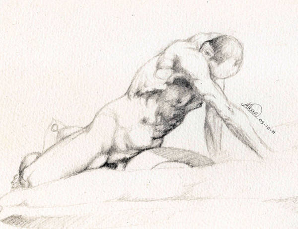 Male Model Drawing - Male Nude Model by Alban Dizdari