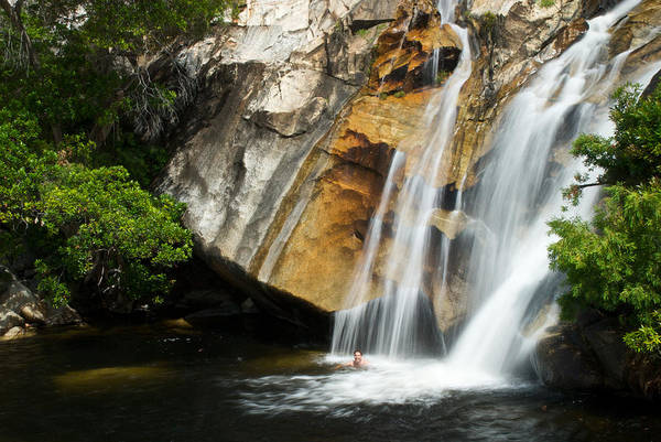 Atherton Tablelands Photograph - Male Swimming At The Base Of Waterfall by Brooke Whatnall