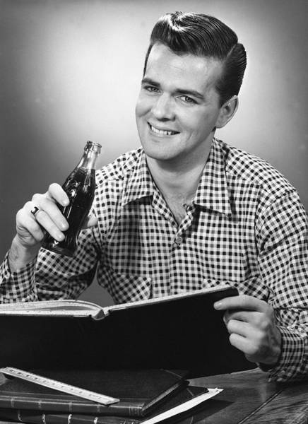 Adult Beverage Photograph - Man Drinking Soda by George Marks