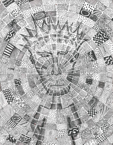 Sharpie Wall Art - Drawing - Man In The Middle by Jera Sky