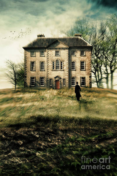 Photograph - Man Walking Up Path To An Old Country Manor by Sandra Cunningham