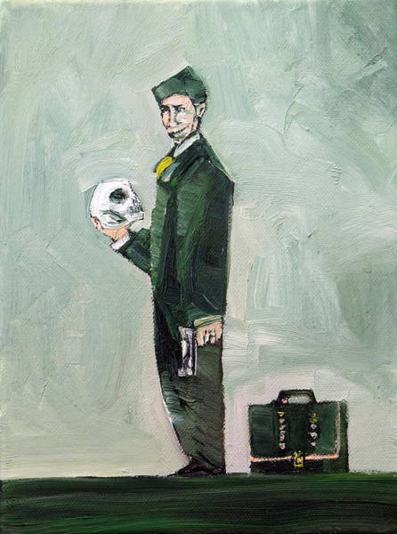 Beretta Wall Art - Painting - Man With Skull Gun And Suitcase by Fabrizio Cassetta
