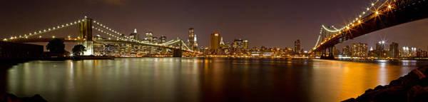 Photograph - Manhattan At Night Panorama 4 by Val Black Russian Tourchin
