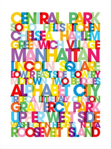 Text Map Digital Art - Manhattan Boroughs Bus Blind by Michael Tompsett