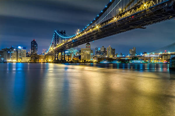 Manhattan Bridge And Downtown Brooklyn At Night. Art Print