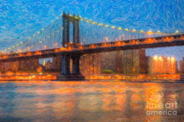 Photograph - Manhattan Bridge Twilight Impasto by Clarence Holmes