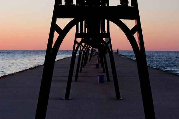 Manistee Photograph - Manistee Michigan Pier At Sunset by Twenty Two North Photography