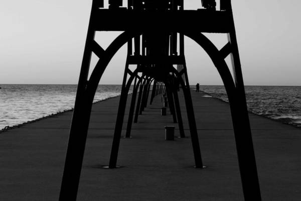 Manistee Photograph - Manistee Michigan Pier In Black And White by Twenty Two North Photography